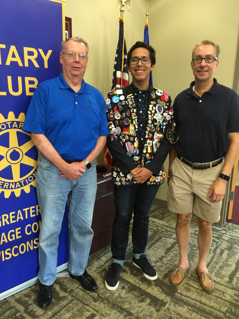 Eduardo. Rotary Youth Exchange student. Meeting speaker.